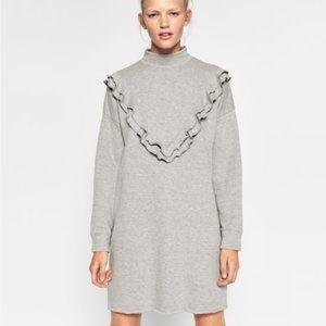 Zara Gray Ruffle Mock Neck Sweater Dress
